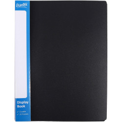 Bantex Insert Spine Display Book A4 20 Fixed Pockets Black