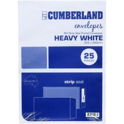 Cumberland Envelope Pocket B4 Strip Seal Plain White Pack Of 25