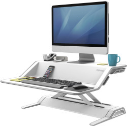 Fellowes Lotus Sit Stand Desk Top Workstation White