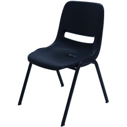 Poly Plastic Student Training Chair With Black Steel Frame Stackable Black Poly Shell