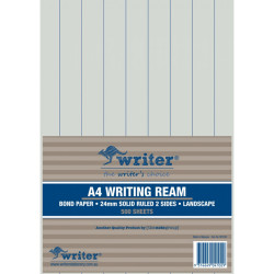 WRITER A4 EXAM PAPER 24mm Solid Ruled Landscape Ream of 500