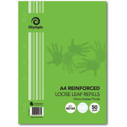 Olympic Reinforced Refills A4 14mm Ruled Dotted Thirds Pack of 50 Leaves