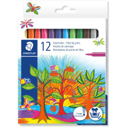 STAEDTLER FIBRE TIPPED MARKER Noris Club Assorted Wallet of 12