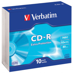 Verbatim Recordable CD-R 80min 700MB 52X Jewel Case Pack of 10