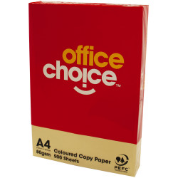 Office Choice Copy Paper Tinted A4 80gsm Yellow Ream of 500