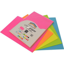 Rainbow Office Copy Paper A3 75gsm Fluoro Assorted Pack of 100