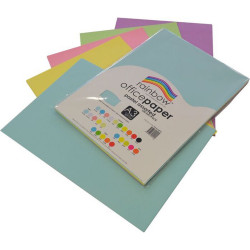 Rainbow Office Copy Paper A3 80gsm Pastel Assorted Pack of 100