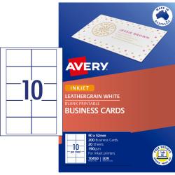 Avery Business Cards Laser Inkjet Labels LJ39 90x52mm  Matt White 200 Cards 20 Sheets
