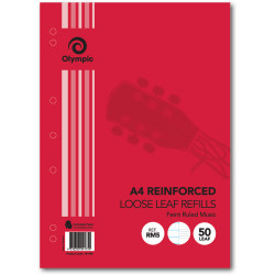 Olympic Reinforced Loose Leaf Refills A4 297x210mm 55gsm Ruled Music Pack of 50