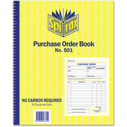 SPIRAX BUSINESS BOOK 501 Purchase Order Quarto Side Opening