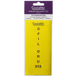 Crystalfile Indicator Tab Inserts A-Z Yellow Pack Of 60