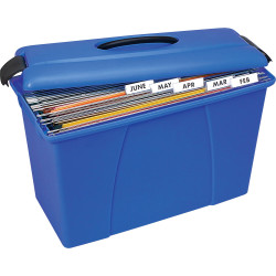 Crystalfile Carry Case 18L Foolscap Blue With Black Trim