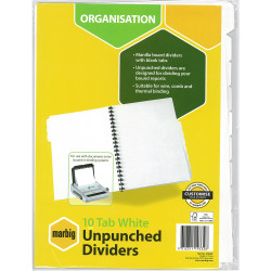 Marbig Manilla Divider A4 10 Tab Unpunched White