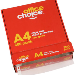 Office Choice Sheet Protectors A4 Copy safe Low Glare Box of 300