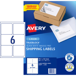 Avery Shipping Laser Labels L7166 99.1x93.1mm White Pack of 100 (600)