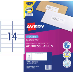 Avery Quick Peel Address Laser Labels L7163 99.1x38.1mm White 280 Labels, 20 Sheets