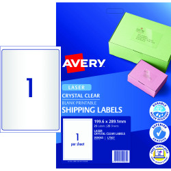 Avery Quick Peel Address Laser Label L7567 199.6x289.1 Clear 25 Labels, 25 Sheets