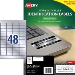 Avery Heavy Duty Laser Labels L6009 45.7x21mm Silver 960 Labels, 20 Sheets