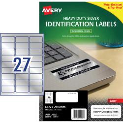 Avery Heavy Duty Laser Labels L6011 63.5x30mm Silver 540 Labels, 20 Sheets