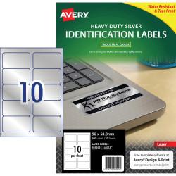 Avery Heavy Duty Laser Labels L6012 96x50.8mm Silver 200 Labels, 20 Sheets