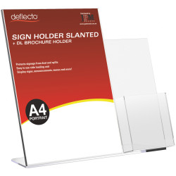 Deflect-O Sign Holder Slanted A4 Sign Holder With Side Mount DL Brochure Holder Portrait