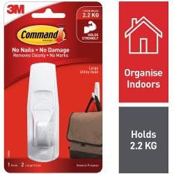 Command 17003 General Purpose Hooks Large Single White