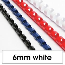 REXEL BINDING COMB 6mm 25 Sheet Capacity  White Pack of 100