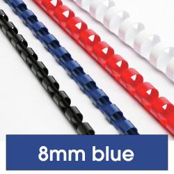 REXEL BINDING COMB 8mm 45 Sheet Capacity  Blue Pack of 100