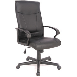 Hemsworth Chair High Back with Arms Black Bonded Leather