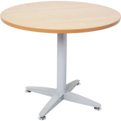 Rapid Span Four Star Round Meeting Table 900mm Diam Beech Top Silver Steel Base