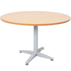 Rapid Span Four Star Round Meeting Table 1200mm Diam Beech Top Silver Steel Base