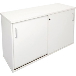 Rapid Span Melamine Credenza 730Hx1800Wx450mmD Lockable Sliding Doors All White