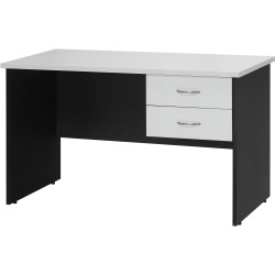 Logan Melamine Student Desk 1200Wx600mmD With 2 Drawers White & Ironstone