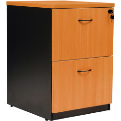 Logan Melamine Filing Cabinet 2 Drawer Lockable Beech & Ironstone
