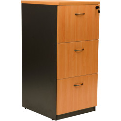 Logan Melamine Filing Cabinet 3 Drawer Lockable Beech & Ironstone