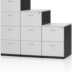 Logan Melamine Filing Cabinet 3 Drawer Lockable White & Ironstone