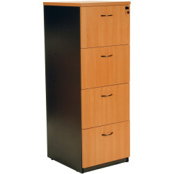 Logan Melamine Filing Cabinet 4 Drawer Lockable Beech & Ironstone