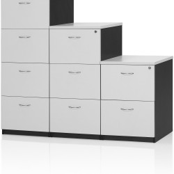 Logan Melamine Filing Cabinet 4 Drawer Lockable White & Ironstone