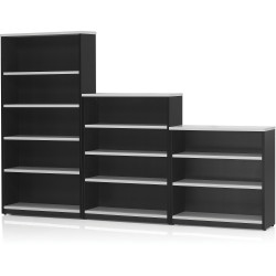 Logan Bookcase 1200Hx900Wx315mmD 3 Shelves White & Ironstone
