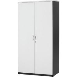 Logan Melamine Cupboard Hinged Doors 1800Hx900Wx450mmD White & Ironstone