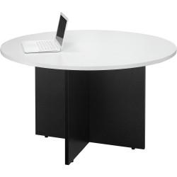 Logan Melamine Meeting Table Ironstone Cross Base 900mm  Diam Round White Top