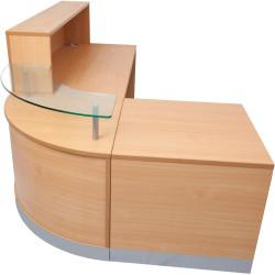Flow L Shape Reception Desk 1160Hx2400Wx1600Wx800D Beech with Glass Corner Hob