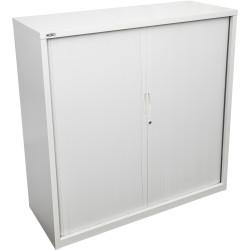 Go Steel Tambour Door Storage Cupboard No Shelves Included 1016Hx1200Wx473mmD White