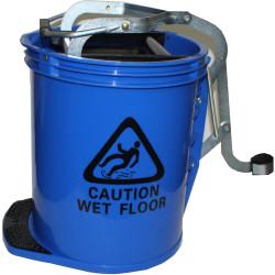 Cleanlink Metal Mop Bucket Heavy Duty Wringer 16 Litres Blue