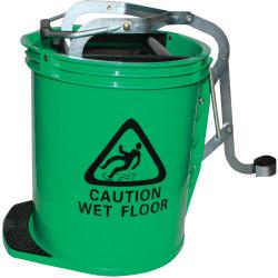 Cleanlink Metal Mop Bucket Heavy Duty Wringer 16 Litres Green