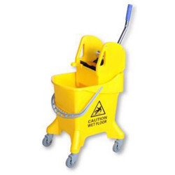 Cleanlink Metal Mop Bucket Heavy Duty Wringer 31 Litres Yellow