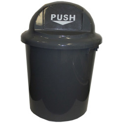 Cleanlink Circular Rubbish Bin with Bullet Lid 60 Litres Grey