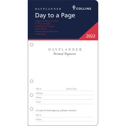 Debden Personal Organiser Refill Day To A Page 96X172mm Dayplanner