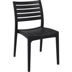 Ares Hospitality Dining Chair Indoor/Outdoor Use Stackable Black Polypropylene