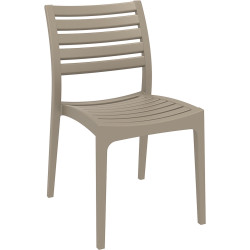 Ares Hospitality Dining Chair Indoor/Outdoor Use Stackable Taupe Polypropylene